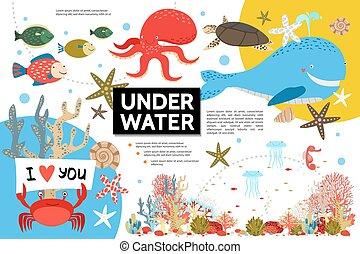 Flat Underwater Life Infographic Template - Flat underwater...