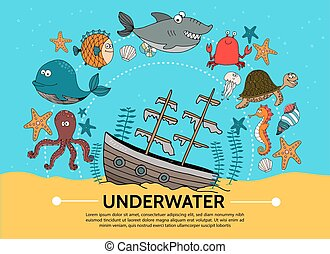 Flat Underwater World Concept - Flat underwater world...