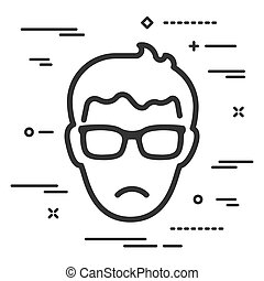 Flat unhappy head of man with glasses icon on a white background with lines