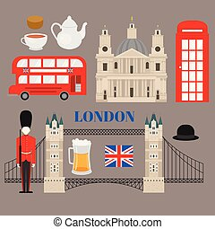 Flat United Kingdom, London travel icon landmark traditional...