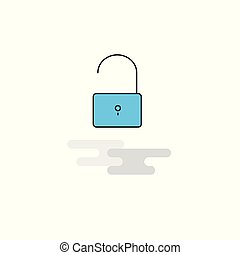 Flat Unlock  Icon. Vector