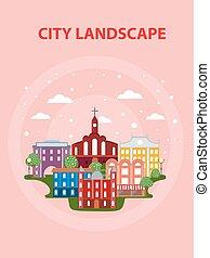Flat Urban City Poster