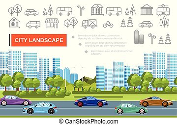 Flat Urban Landscape Concept
