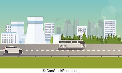 Flat urban landscape