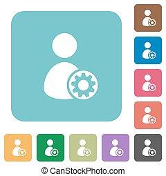 Flat user account settings icons