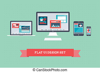 Vector illustration of user interface on digital tablet and on mobile devices with flat simplistic inforgraphic charts and web design on a screen. Isolated on green background.