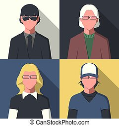 Flat user picture - Silhouette of different people in flat...