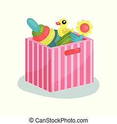 Flat vectir icon of pink striped container full of children toys. Pyramid with colorful rings, rubber duck, cube and flower