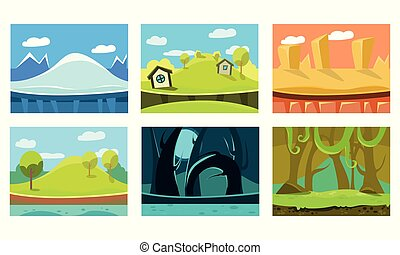 Flat vectoe set of 6 backgrounds for mobile game. Scenes with ice mountain, sandy desert, forest, jungle and green hills