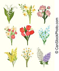 Flat vectoe set of cute spring bouquets. Beautiful flowers. Nature and flora theme. Design for greeting card