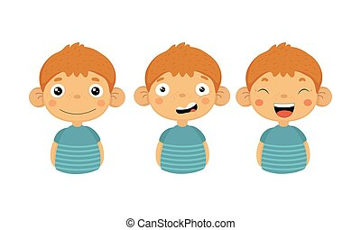 Flat vectoer set of little boy with different emotions. Smiling, confused and laughing. Cute kid character