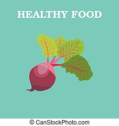 Flat Vector Beetroot on Blue Background.