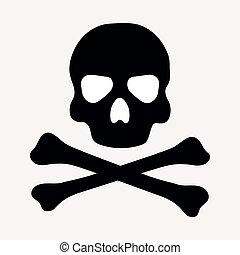 Flat vector black skull and crossbones.