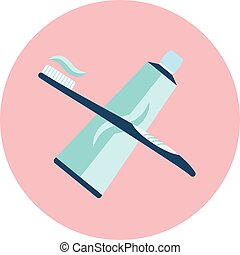 Flat vector blue toothpaste and brush icon