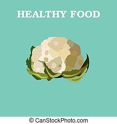 Flat Vector Cauliflower on Blue Background.