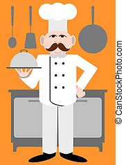 Flat Vector Chef - Chef is presenting a covered dish