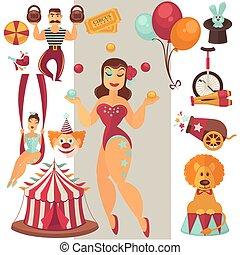 Flat vector circus icons set