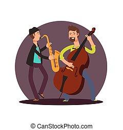Flat vector classic instrumental duet musicians cartoon characters