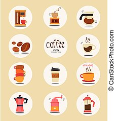 flat vector coffee stuff icon collection
