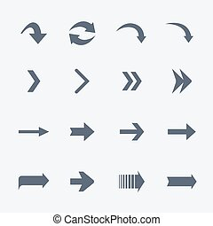 Flat vector collection of arrows icons isolated on white.