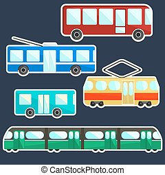 Flat vector colorful public transport stickers set