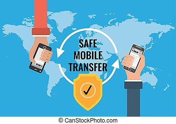 Flat vector concept of safe mobile banking