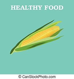 Flat Vector Corn on Blue Background.