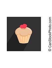 Flat vector cupcake sign