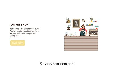Flat vector design for landing page of coffee shop or coffee house
