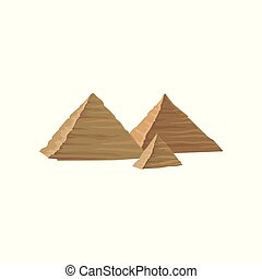 Flat vector design of Ancient Egyptian pyramids. Famous monumental structure in Egypt. Landscape element for mobile game