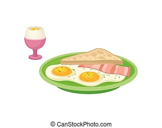 Flat vector design of boiled egg in pink cup, green plate with fried eggs, slice of bacon and bread. Tasty breakfast