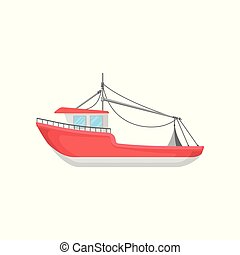 Flat vector design of bright red fishing boat. Big marine vessel. Element for infographic or mobile game