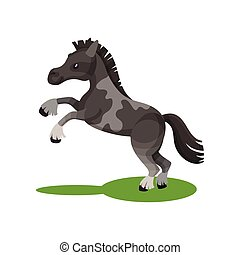 Flat vector design of cute gray spotted horse standing on its hind legs. Pony with short mane and long tail