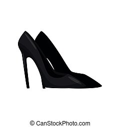 Flat vector design of elegant black women shoes with tall, thin heels and pointed toe, side view. Female footwear