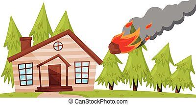 Flat vector design of flaming meteorite falling on the house, green fir trees on background. Natural disaster