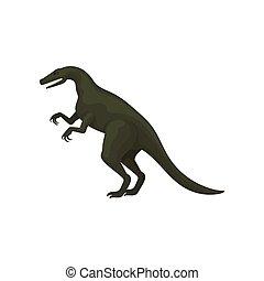 Flat vector design of troodon or velociraptor. Green...