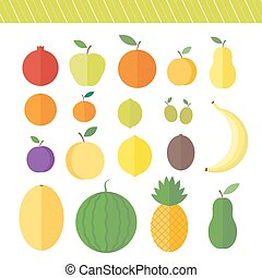 Flat vector elements for web design fruits and berries