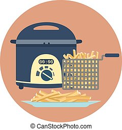 Flat vector fryer withplate of tasty french fries - Flat...