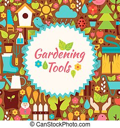 Flat Vector Gardening Tools Brown Poster Postcard