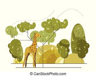 Flat vector Giraffe flat illustration