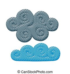 Flat vector gray cloudy overcast sky illustration
