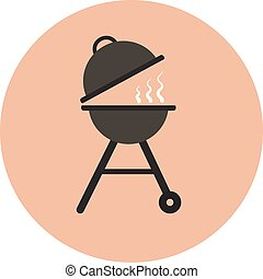 Flat vector grill icon, outdoor charcoal grill for picnics, ...