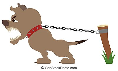 A guard dog is straining at his chain while barking at an intruder