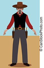 Flat Vector Gunslinger - Cowboy with two pistols is ready...