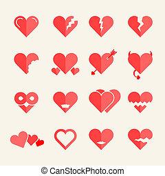 Flat vector heart icons or symbols set