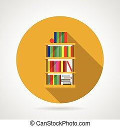 Flat vector icon for bookshelf with colorful books