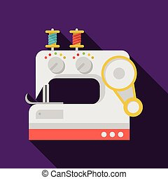 Flat vector icon for sewing machine - Flat colored vector...