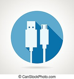 Flat vector icon for USB cable - Blue round vector icon with...