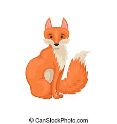 Flat vector icon of adorable sitting red fox, side view. Forest creature. Cartoon wild animal. Flat vector icon