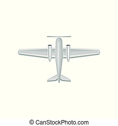 Flat vector icon of airplane with propeller on nose. Air transport. Aviation theme. Element for poster or game